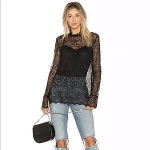 THEORY Black Lace Long-Sleeved Top with Cami Sz M